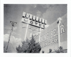 Gallup, NM (moominsean) Tags: polaroid 190 instant type667 expired022009 newmexico gallup southwest route66 colonialmotel