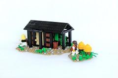 Beekeeper's Cottage (soccersnyderi) Tags: lego moc medieval beekeeper hive landscape cottage