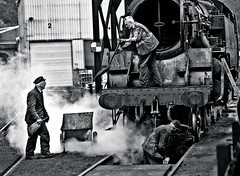 Cleaning out, NYMR yard, Grosmont, Yorkshire, England. (2c..) Tags: steam locomotive cleaning ash shovelling north yorkshire moors railway people mono train bolier 2c england uk 2cimage hertigage shed texture