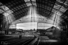 bristol temple meads railway station (Daz Smith) Tags: dazsmith canon6d bw blackwhite blackandwhite bath city streetphotography people candid canon portrait citylife thecity urban streets uk monochrome blancoynegro station templemeads bristol railway light rays sunlight beams industrial architecture