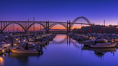 Yaquina Bay Bridge at the Blue Hour (Daniel P Froese) Tags: bridge reflection bluehour oregon coast sunset yaquina dusk boat boats marina landscape newport ocean bay
