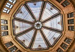 octogone (cherryspicks (intermittently on/off)) Tags: architecture building rotunda atrium ceiling stainedglass windows skylight window geometric symmetry roof indoor round circle