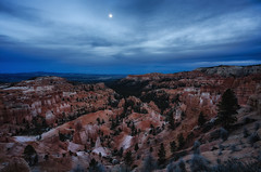 Hoodoo Moon (Brian Truono Photography) Tags: brycecanyon hdr highdynamicrange nps nationalpark nationalparkservice utah bluehour canyon clouds desert dirt dusk erosion exposureblending geological geology gorge hoodoos landscape moon nature night rock sky spires stone sunset sunsetpoint trees valley bryce unitedstates us