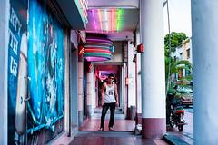 Our Adventure Begins (Jon Siegel) Tags: nikon nikkor d810 50mm 12 nikon50mmf12 50mmf12 man dude handsome boy neon night club evening alley street chinese singaporean singapore adventure cinematography cinematic wongkarwai