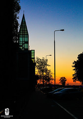 A w e s o m e  S u n s e t (Rzvan Oprea-Balai) Tags: yellow park sunset street travel blue night light tower tourist urban cityscape summer building beautiful lamp dark glass dawn memories colorful dusk pastel capital warmlight goldenhour capture warsaw poland polska