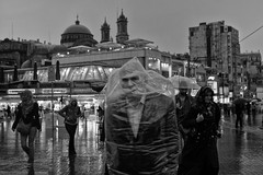 Istanbul (jacque_the_idiot) Tags: street bw rain turkey istanbul raincoat taksim taksimsquare