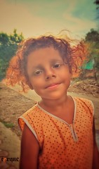 Neighbourhood Girl-1 (torqueabhi) Tags: sunset portrait orange fall apple girl smile mobile hair evening cutie nagpur iphone innoncence pixelmator iphoneography iphone6 snapseed