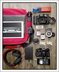 Contents of my bag (Eirik0304) Tags: camera canon fuji fujifilm fujinon exakta x10 cameraporn canonef ga645wi contentsofmybag edrussellroberts