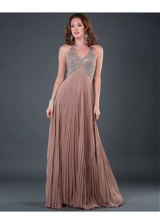 Graceful Silk-like Chiffon & Stretch Satin A-line Halter Prom Gown With Beads