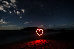 Heart (Marco.Alagna) Tags: light red beach night clouds stars heart