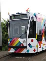GVBA GAY-Tram 2098 Kop met GAY vlaggetjes (Arthur-A) Tags: gvb gvba amsterdam nederland netherlands tram tramway strassenbahn streetcar gaytram pridetram gay homo lesbian transgender