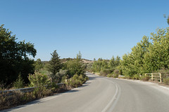 (Psinthos.Net) Tags: road bridge trees light sky sunlight mountain nature forest countryside day afternoon blossom bluesky valley fields planetrees railings treebranches shrubs oleander pinetrees sunnyday cypresstree olivetrees pinkblossoms   pinkoleander    psinthos
