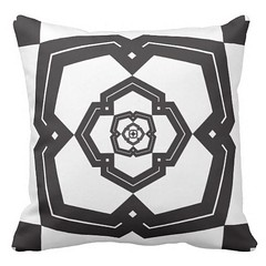 """""""poly bloom"""" black & white throw pillow (CMY-KEY) Tags: graphicdesign pattern cameron homedecor bedding patterndesign prather"""