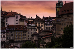 Fribourg Evening Sky (VandenBerge Photography) Tags: switzerland schweiz sky fribourg cantonfribourg europe canon ef100mmf28lmacroisusm primelens cityscape city building travel citygate color tourism town tower ancienttown oldtown historical
