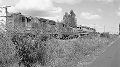 Portland and Western Railroad Black and White (844steamtrain) Tags: 844steamtrain emd sd9 diesel train locomotive vintage cadillac engine portland western railroad railway travel adventure events tourism science technology history metal machine southern pacific northwest old film camera flickr photography transportation freight beaverton oregon pnwr 1852 4433 3603 rusty america black white outdoor