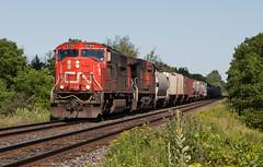 CN A435 CN 5766 W at Mile 69 Dundas Sub (railroadcndr) Tags: cn cnr canadiannational cndundassub london dorchester ontario canada cna435 cn5766 gmd sd75i freight train engine locomotive track tracks railroad railway station signal switch siding