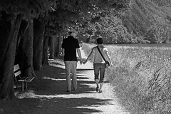 Couple on a Walk (hdzimmermann) Tags: bw couple outdoor walk paar sw spaziergang walensee