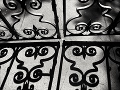 Shadows (Thad Zajdowicz) Tags: light shadows fence gate pavement blackandwhite black white bw monochrome pasadena california zajdowicz 366 365 payttern cellphone photoshopexpress motorola droid turbo smartphone cameraphone android mobile outside outdoor availablelight