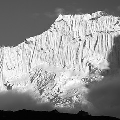 Pema Dablam 6430m Nepal (nigelharris2) Tags: blackandwhite nature mountains nepal travel everestbasecamp himalayas trekking tourism mountain mountaineering trek canoneos6d canon eos 6d mono monochrome ridge snow flutings beautiful travelling amazing