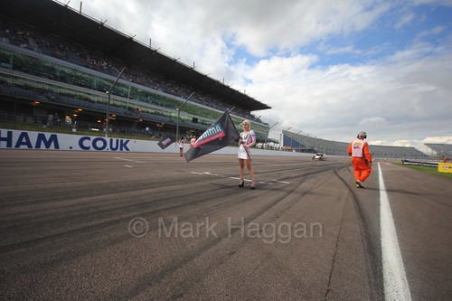 The Ginetta GT4 Supercup grid at Rockingham, August 2016
