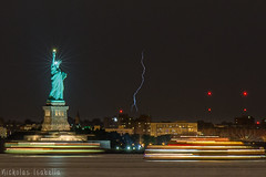 A dark and stormy night (nisabella07) Tags: lightning storm statue liberty new york city thunderstorm staten island ferry brooklyn nikon harbor long exposure