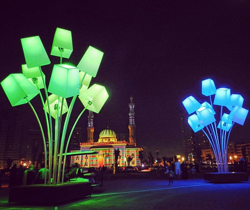 Sharjah Light Festival at Al Majaz Waterfront in Sharjah.  #sharjahlightfestival #2016 #Sharjah #mysharjah #AlMajaz #WaterFront #Mosque #UAE