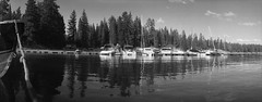 Crescent Lake (ASHLANDJET) Tags: film widelux f7 swinglenscamera kodak trix400 35mm analog blackandwhite monochrome wideangle panorama crescentlake oregon centraloregon vintagecamera lake boats