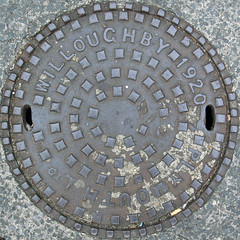 manhole cover (chrisinplymouth) Tags: 1920 number date manhole lid cap cw69x round circular squaredcircle squircle plymouth devon england uk iron metal rust willoughby manholecover accesscover pavement psi stm mark