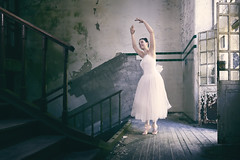 Delicate movements (RuiFAFerreira) Tags: abandoned aged decay urbex urban urbanexploration exploration interior hospital psychiatric model female beauty beautiful dancer mood balletdancer ballet oblivion light shadow door conceptual fineart portrait canon 60d 1018mm wide uwa people