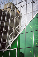 Green triangles (Playing_with_light) Tags: montreal mtl palais des congres glass windows architecture triangles nikon d800