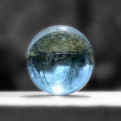 Marble World (nikagnew) Tags: sunlight backyard warm naturallight refraction marble selectivecolour macromondays finallynomoresnow springisslowlyarriving