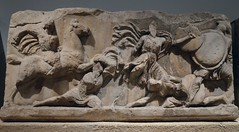 Marble slab of the Amazon frieze of the Mausoleum of Halikarnassos representing combats between Greeks and Amazons, Mausoleum at Halikarnassos, around 350 BC, British Museum (Following Hadrian) Tags: mausoleum bodrum halicarnassus caria halicarnassos maulossos
