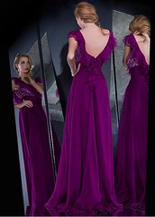 Chic Silk Like Chiffon & Lace V-neck Neckline Floor-length A-line Sexy Prom Dress (miyadresses2016) Tags: chicpromdress chiffondress lacedress sexypromdress purpledress homecomingdrsss eveningdresses stunningdress elegantdress longformaldress