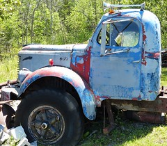 REO truck cab (sharon'soutlook) Tags: reo truck cab blue peelingpaint old horns alansonmichigan collision michelscollisionrestoration