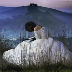 Fall of Ophelia ... (Alexandra A. Ryan) Tags: model fashion girl woman queen princess castle mountain ophelia hamlet medieval white nature gown crying portrait
