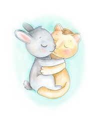 hugs (garnenka) Tags: rabbit cat hare postcard hugs