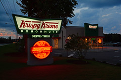 Krispy Kreme (davidwilliamreed) Tags: krispykreme restaurant drivethru original glazed doughnuts hot now bluehour dusk twilight afterdark nightshot availablelight pleasanthillroad duluthga gwinnettcounty neon sign