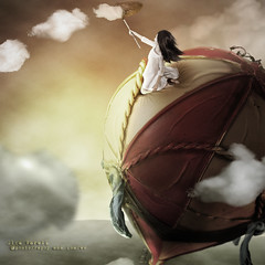 The doll and the  hot air balloon (olgavareli) Tags: hot air balloon doll sky dream clouds net netart ii challenges community group photo manipulation olga vareli