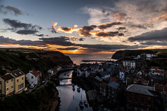 Staithes sun rise (haywardk49) Tags: staithes eastcoast coast sea seaside water beach whitby northyorkshire yorkshire landscape waterscape d750 lowlight dark night longexposure lights raw nef jpg wideangle fullframe england uk people 20mm f18 18