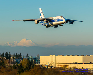 AN-124 JETTING RIGHT PAST MOUNT BAKER ON FINAL TO PAINE FIELD