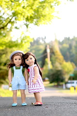 Rebbie and Grace (5hens) Tags: road street summer rebecca sunny overalls americangirl rebbie 5hensandahowardbird 5hensandacockatiel
