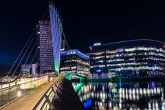 Media City, Salford Quays, England (haywardk49) Tags: uk longexposure bridge england people water night reflections dark manchester lights lowlight raw nef shadows yorkshire salfordquays wideangle d750 jpg fullframe neonlight mediacity