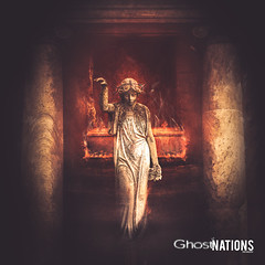 Burning The Bones Of The Ghosts That Are Haunting Me (Ghost Of Nations Photography And Digital Art) Tags: ghostofnationsphotography ghostofnations gloomy statue sculpture scary spooky fire liminal gothic newgothic neogothic dark disquiet temple