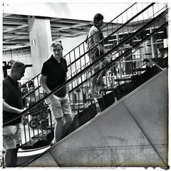 INSTAGRAM 365 Day 215: Escalators (tomas_nilsson) Tags: instagram365 sweden malm store ikea notmyfavoriteplace shopping candid igersmalmoe monochrome monochromephotography blackandwhite blackandwhitephotography diagonals three cellphonephotography lg g4 snapseed postprocessing