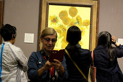Vincent and Me  6 (tezzer57) Tags: woman art painting gallery candid nationalgallery sunflowers magicmoments vincentvangogh