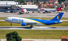 Sterna, a classic! (LeoMuse747) Tags: camera brazil classic beautiful linhas brasil plane lens airplane for daylight airport nikon european day euro aircraft aviation smoke jet aeroplane cargo landing international fortaleza cear airline airbus nikkor airlines 70300mm martins touchdown ceara vr airliner pinto freighter a300 areas sterna aereas a300b4 b4200 sbfz prstn d5100 tmafortaleza