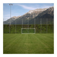 Symmetry (ngbrx) Tags: fence schweiz switzerland goal fussball suisse wiese berge hedge bern tor svizzera zaun berne berner interlaken bernese rasen oberland hecke matten bdeli