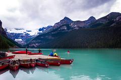 Busy day at the lake (knnku) Tags: blue lake canada mountains ken canoe louise alberta boating banff 2016 kenniku