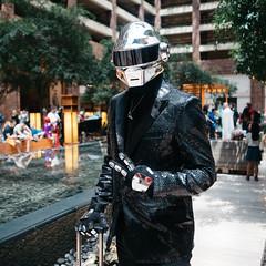 Daft Punk (BurlapZack) Tags: olympusomdem5markii olympusmzuiko17mmf18 vscofilm pack01 dallastx hiltonanatole daftpunk akon27 akon animeconvention scificonvention costume cosplay peace peacesign portrait bokeh traveler robot human square crop atrium hotel sparklesuit dapper cyborg electronicmusic shiny chrome microfourthirds