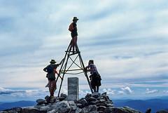 Mt Townsend, 1978 (NettyA) Tags: 1978 australia nsw snowymountains kosciuszkonationalpark mttownsend trig bushwalking bushwalkers bushwalk ymcaramblers clouds summit scannedslide kodachrome 35mmslidefilm hike rocks davenoble keithmaxwell chrismcgowan